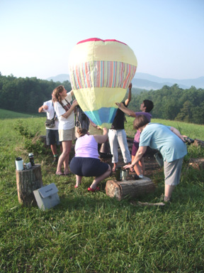 In 2006, my students at Penland helped me construct a hot air balloon, which we launched!